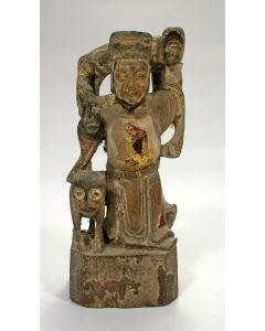 Chinees houten tempelbeeld / voorouderbeeld, Qing dynastie