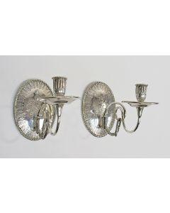 Stel zilveren wandlusters, gegraveerd met adellijke familiewapens, 1876