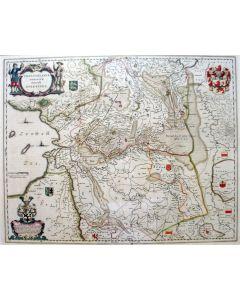 Handgekleurde kaart van Overijssel en Drente, gebr. Blaeu, 17e eeuw