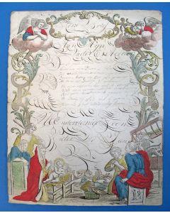 'Kerstbrief' met calligrafie, ca.1800