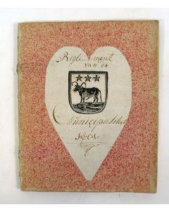 d'Erven Stichters Comptoir Almanach van 1801, in gebruik geweest bij de Municipaliteit van Edam.