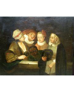 Franse School, Een groep toneelspelers, 18e eeuw