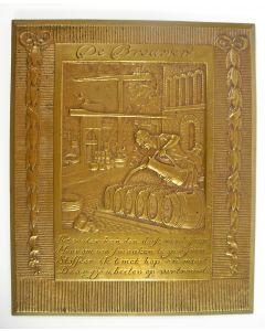Bronzen plaquette, De brouwer, J.C. Wienecke, ca. 1930