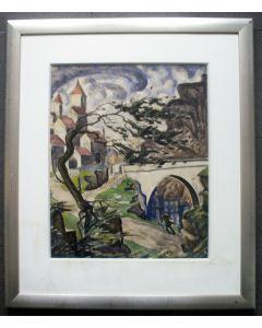 John Pusey, Dorpsgezicht in Frankrijk, aquarel, 1927