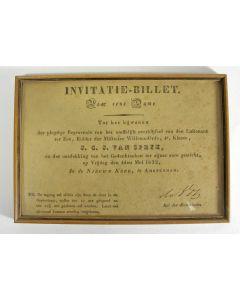 Uitnodigingskaart voor de begrafenis van J.C.J. van Speyk, Amsterdam 1832