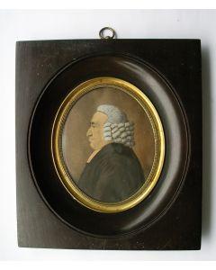 Portretminiatuur van een predikant, eind 18e eeuw