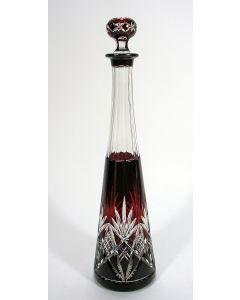 Kristallen wijnkaraf, überfang geslepen