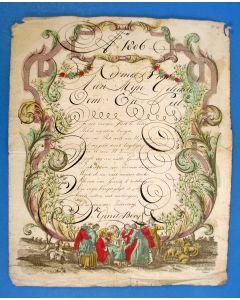'Kermis Brief' met calligrafie, 1806