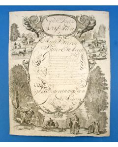 'Nieuwjaars Brief' met calligrafie, 1825