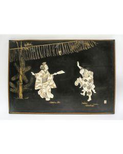 Japans lakpaneel met ivoor en paarlemoer, ca. 1900