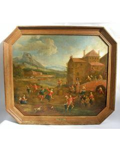 Omgeving Cornelis Droochsloot, Dansende boeren bij een dorpsherberg, 17e eeuw