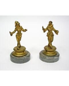 Stel bronzen pierrots, Art Deco periode.