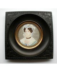 Portretminiatuur van Elisabeth Jurrjens-Kupfer, door Samuel Baruch Benavente, ca. 1830