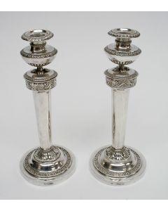 Stel Empire zilveren kandelaars, Duitsland ca. 1820