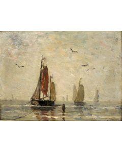 Gijsbert Jan Sijthoff, Bomschuiten op het strand, paneel, ca. 1900
