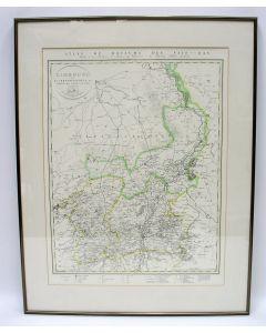 Kaart van de Provincie Limburg uit de Atlas du Royaume Des Pays-Bas. 'Limbourg divisé en arrondissemens et cantons de justice de paix', door C. van Baarsel et Fils, 1821/1830.