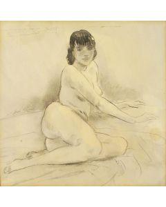 Jan Sluijters, liggend naakt, aquarel