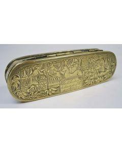 Gegraveerde koperen tabaksdoos met galante voorstellingen van een jager en een herderin, 18e eeuw