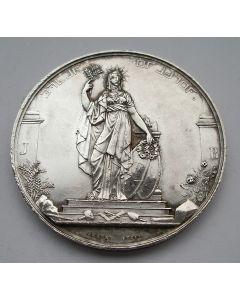 Maçonnieke penning, Huwelijk Prins Frederik met Louise van Pruissen, 1825, met randgravering op naam van Br:. M.A. Polak.
