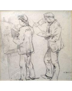 Arthur Briët, 'Twee ezels', zwartkrijttekening