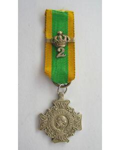 Kruis voor Krijgsverrigtingen, met kroon voor Bijzondere Verrichtingen met cijfer 2, miniatuur