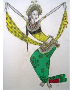 I Ketut Rudin, Balinese danseres, aquarel