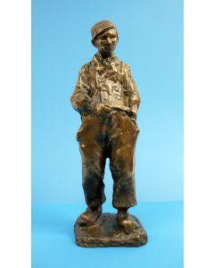 Charles van Wijk, 'Pijprokende boer', bronzen sculptuur