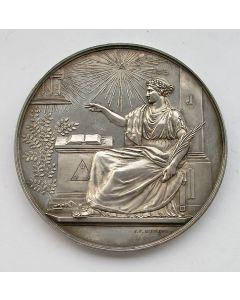 Zilveren penning op het honderdjarig bestaan van de vrijmetselaarsloge 'La Vertu' te Leiden, 1857