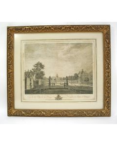 'Vue de la Ville de la Haye et Maison du Prince d'Orange', Het Buitenhof, Den Haag, gravure ca. 1750