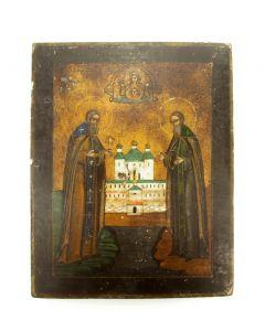 Russisch reisicoontje, Zosima en Savattiy, 19e eeuw, meegebracht van de Archangel-campagne van 1918