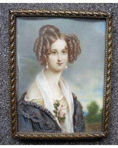 Portretminiatuur op ivoor, elegante dame