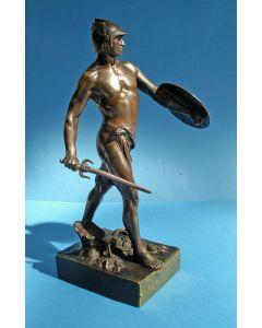 Emile Picault. 'Pro Jure', bronzen beeld, geschenk aan de schermleraar Leopold van Humbeek, 1910