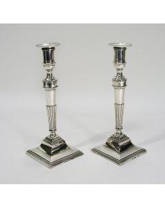 Stel zilveren kandelaars, Madrid, 1850