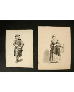 Stel sepiatekeningen, H. Leefkens 1837