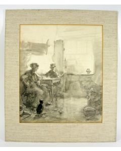 Arthur Briët, 'Man en vrouw in interieur', gewassen inkttekening