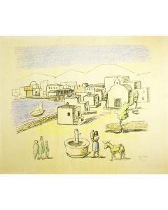 Otto van Rees, 'Dorpsgezicht, Mykonos'., met begeleidende brief van de kunstenaar, 1956