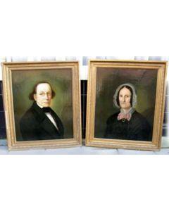 Hollandse School, portretten van predikant Meijboom en zijn echtgenote, ca. 1860