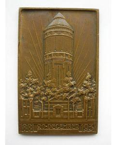 Plaquettepenning ter gelegenheid van het 50-jarig bestaan van de Compagnie des Eaux, Utrecht, 1931 (Watertoren Amsterdamsestraatweg)