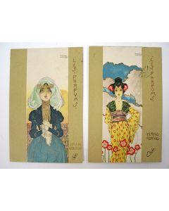 Twee ansichtkaarten uit de serie 'Les parfums', door Raphael Kirchner, ca. 1900