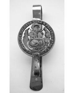 Zilveren gordelhaak met Peruviaanse munt, 1870
