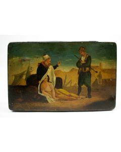 Blikken tabaksdoos met afbeelding van een slavenhandelaar, 19e eeuw
