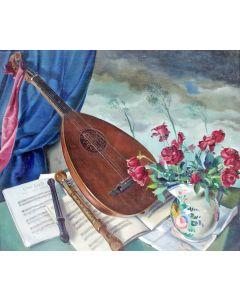 Jan de Cler, 'Door alle levensstormen domineert de muziek', olieverf op doek, 1941
