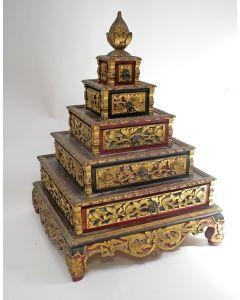 Bestoken houten sieradenkastje, Sumatra, ca. 1900