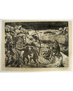 Kreel Daamen, Kerstvoorstelling, houtsnede, 1937