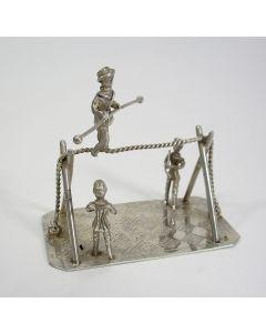 Zilveren miniatuur, koorddanser, 19e eeuw