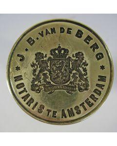 Lakstempel, Notaris J.B. van de Berg, Amsterdam, na 1927