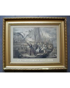 'Het springen van de kanonneerboot van Jan van Speijk', lithografie, 19e eeuw