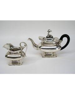 Zilveren theepot en roomkan, 1851