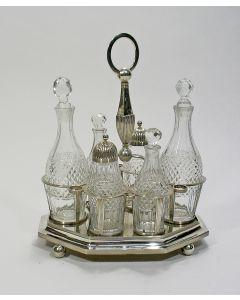 Meerdelige tafelmenagère, kristal met zilver, Hendrik Smits, Amsterdam, 1814
