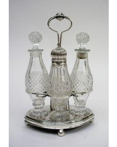 Vierdelige  tafelmenagère, kristal met zilver, Jacob Hendrik Stekllingwerff, Amsterdam, 1817